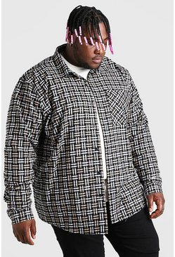 Beige Plus Size Long Sleeve Check Overshirt