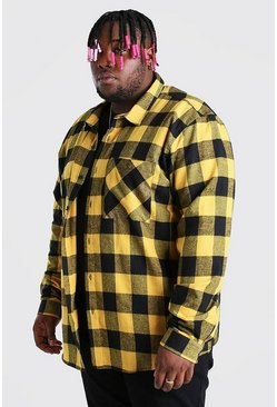 Yellow Big And Tall Long Sleeve Check Shirt