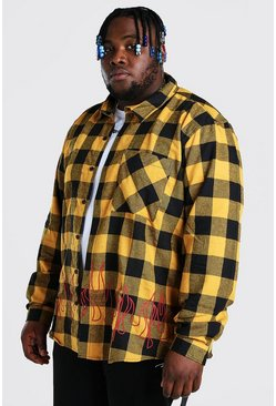 Yellow gul Plus Size Check Overshirt With Flame Print