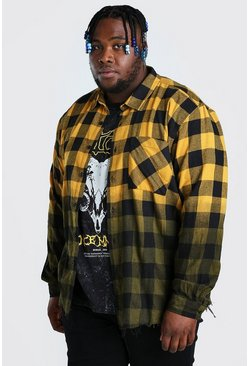 Yellow Plus Size Check Overshirt With Ombre Hem