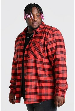 Red Big And Tall Long Sleeve Check Overshirt
