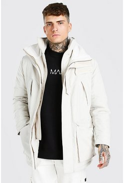 Ecru MAN Branded Funnel Neck Ski Jacket