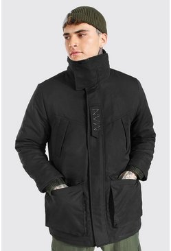 Black MAN Branded Funnel Neck Ski Jacket