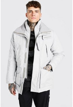 Light grey grey MAN Branded Funnel Neck Ski Jacket