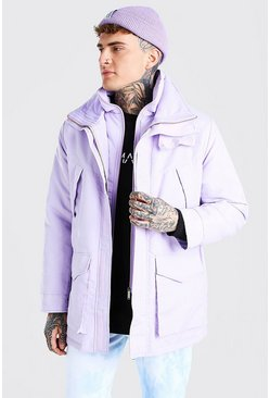 Lilac purple MAN Branded Funnel Neck Ski Jacket