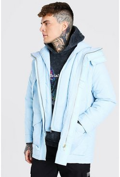 Pastel blue blue MAN Branded Funnel Neck Ski Jacket