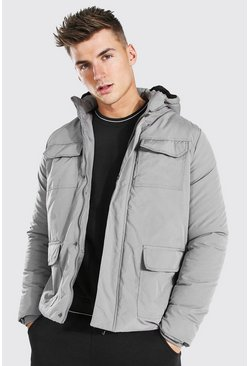 Grey 4 Pocket Parka
