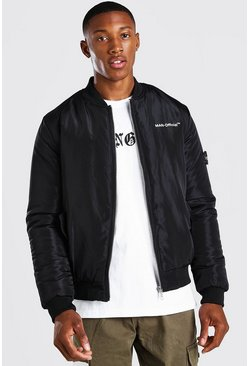 Black Man Sleeve Tab Bomber Jacket