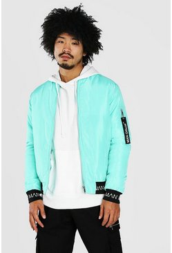 Teal green Bomber With MAN Rib