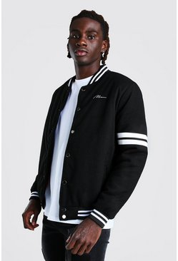 Black MAN Script Wool Look Varsity Bomber