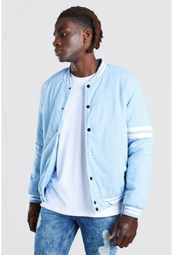 Light blue blue MAN Script Wool Look Varsity Bomber