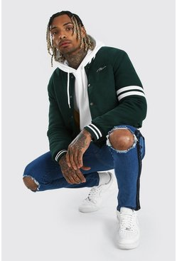 Green MAN Script Wool Look Varsity Bomber