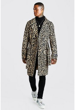 Multi Leopard Print Trench MAN Rubber Badge On Sleeve
