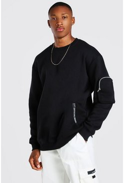 Black Oversized Official MAN Sweatshirt With Zips