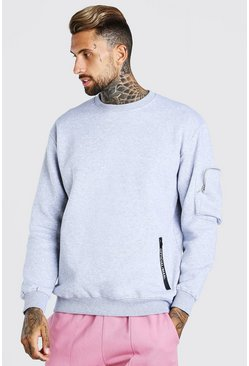 Grey marl grey Oversized Official MAN Sweatshirt With Zips