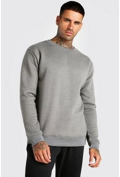 Dark grey grey Basic Crew Neck Fleece Sweatshirt