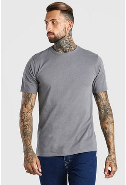 Dark grey grey Basic Crew Neck T-Shirt