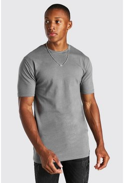 Dark grey grey Basic Muscle Fit Crew Neck T-Shirt