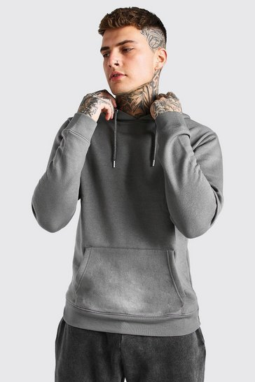 Dark grey grey Basic Over The Head Fleece Hoodie