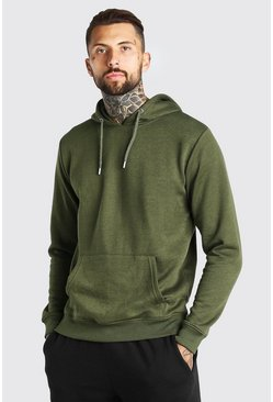 Khaki Basic Over The Head Hoodie