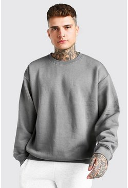 Dark grey grå Basic Oversized Crew Neck Sweatshirt
