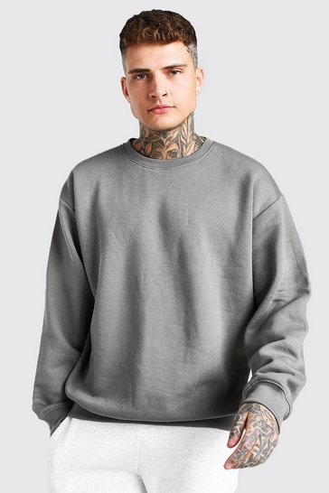 Dark grey grey Basic Oversized Crew Neck Sweatshirt