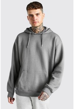 Dark grey grå Basic Oversized Over The Head Fleece Hoodie