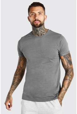Dark grey grey Basic Rolled Sleeve Crew Neck T-Shirt