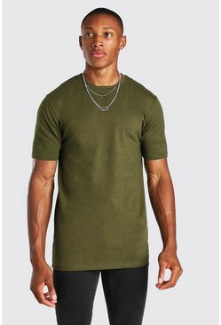 Khaki Muscle Fit Crew Neck T Shirt