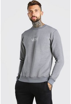 Dark grey grey Original MAN Print Fleece Sweatshirt