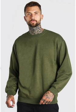 Khaki Oversized Crew Neck Sweatshirt