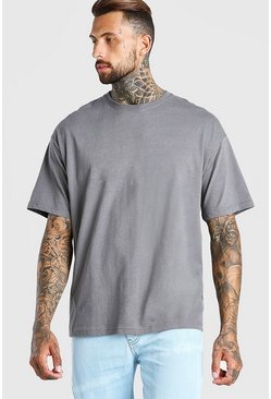 Dark grey grey Oversized Crew Neck T-Shirt