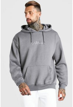 Dark grey grey Oversized MAN Signature Hoodie