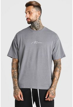 Dark grey grey Oversized Man Signature T-Shirt
