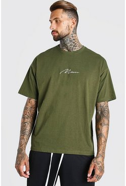 Khaki Oversized Man Signature T-Shirt