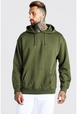 Khaki Oversized Over The Head Hoodie