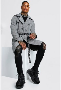 Grey Check Contrast Detachable Belt And Hooded Trench