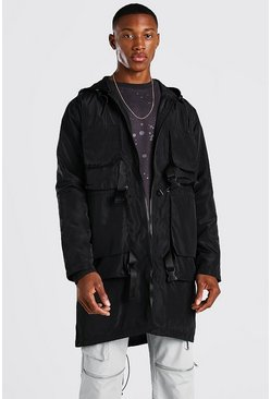 Black Techy Buckle Lightweight Parka