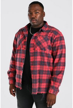 Red Plus Size Enzyme Wash Check Shirt