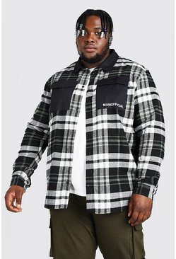 Black Plus Size MAN Official Print Check Shirt