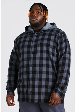 Black Plus Size Hooded Check Overshirt