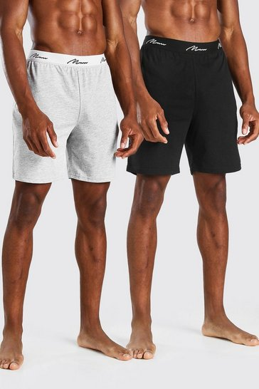 Multi 2 Pack MAN Script Loungewear Shorts