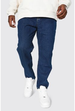 Mid blue blue Plus Size Slim Fit Rigid Jean