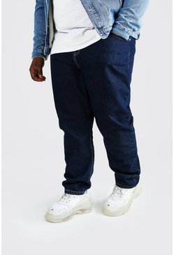 Dark blue blue Plus Size Slim Fit Rigid Jean