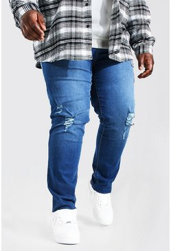 Mid blue blue Plus Size Raw Hem Skinny Fit Jean