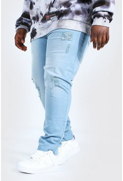 Light blue blue Plus Size Raw Hem Skinny Fit Jean