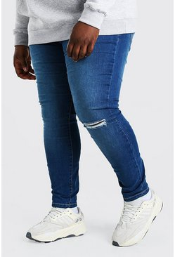 Mid blue blue Plus Size Busted Knee Super Skinny Jean