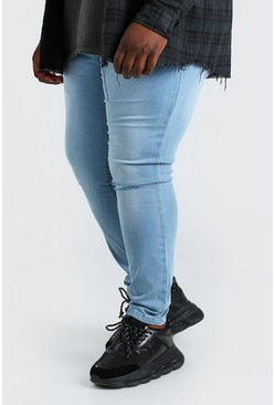 Light blue blue Plus Size Busted Knee Super Skinny Jean