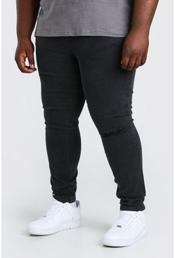 Charcoal grey Plus Size Busted Knee Super Skinny Jean