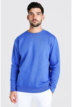 Cobalt blå Basic Crew Neck Fleece Sweatshirt